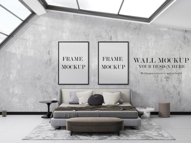 Two frame and wallpaper mockup design in bedroom with large windows