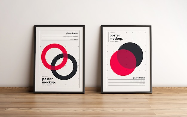 Two framed poster template mockup