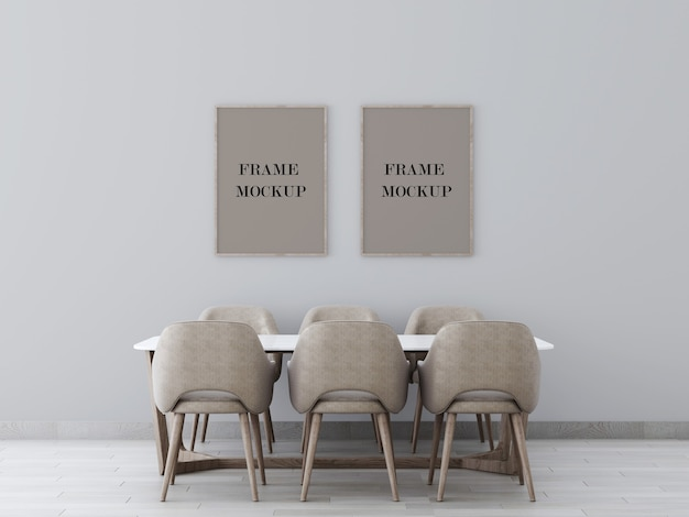 Two frames on grey wall above table 3d rendering mockup