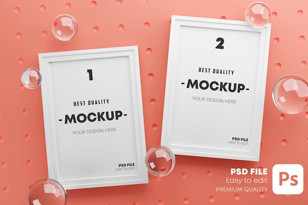 Two frames stylish mock up poster template.