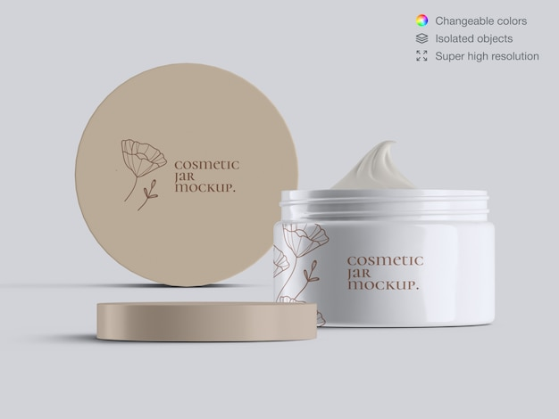 Two front view plastic cosmetic face cream jars mockup template
