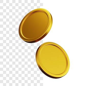 Two gold coins 3d illustration concept