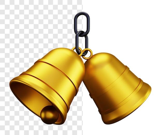 Two golden bells 3d illustration concept