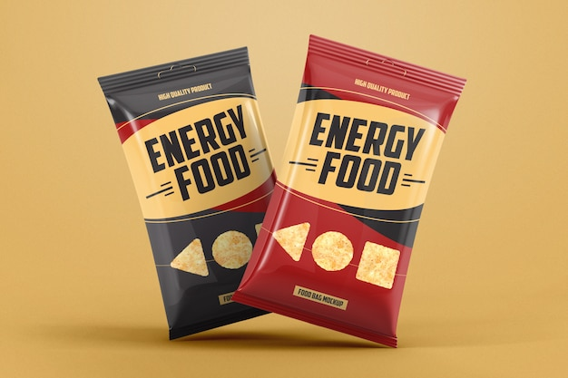 Two gravity foil food bags product mockup