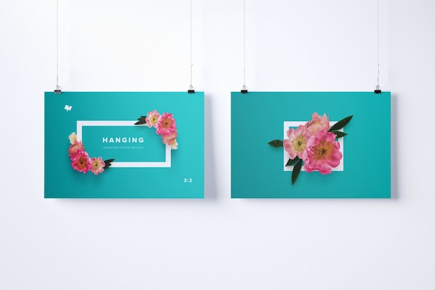 Two hanging posters mockup