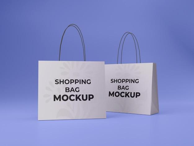 두 개의 고품질 맞춤형 쇼핑백 모형
