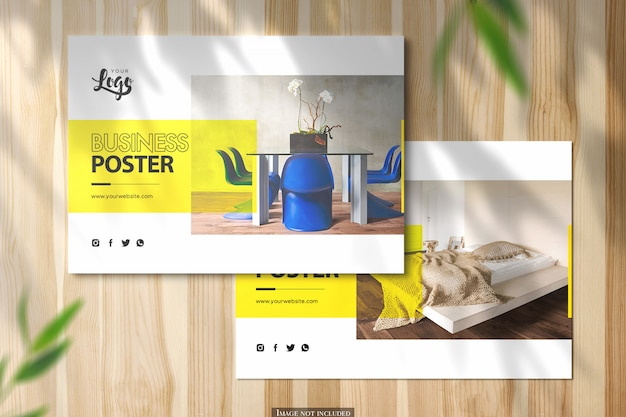 Two horizontal a5 poster mockup on shiny wooden desk