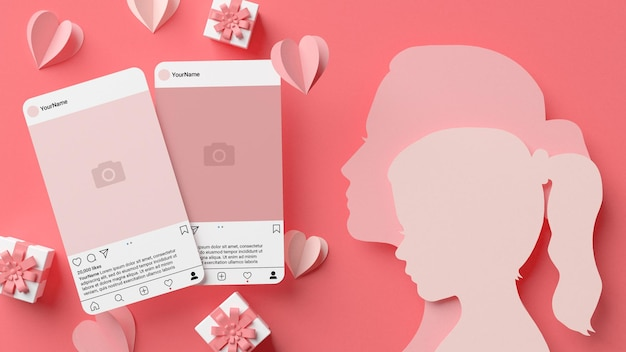 Two instagram post mockup with mom and daughter papercut silhouettes