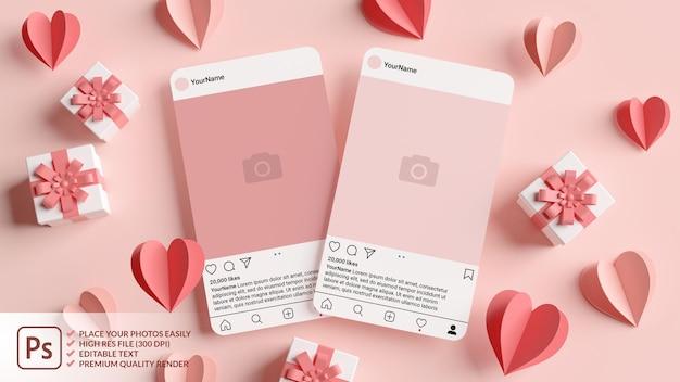 3d 렌더링에서 발렌타인 데이를위한 핑크 하트와 선물이있는 두 개의 instagram 게시물 모형