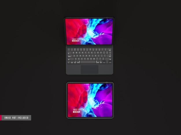 Due mockup pro tablet scuro isolato con tastiera