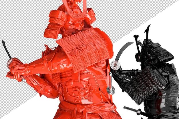 두 일본 사무라이 싸움. 외딴. 3d 렌더링