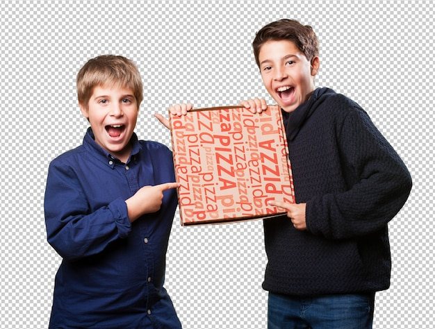 Two kids friends holding pizzas