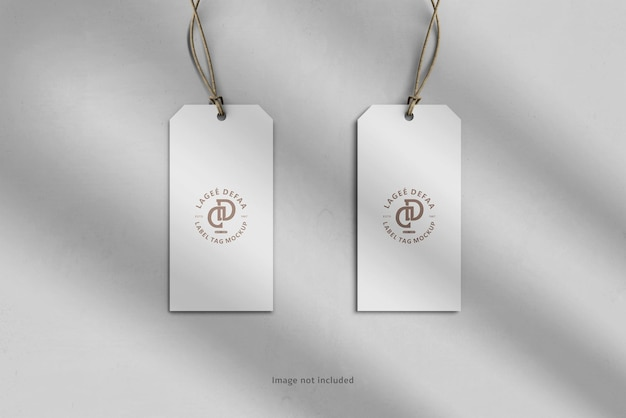 Two label tag mockups top view