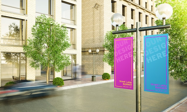 Two lamppost on the street 3d rendering mockup
