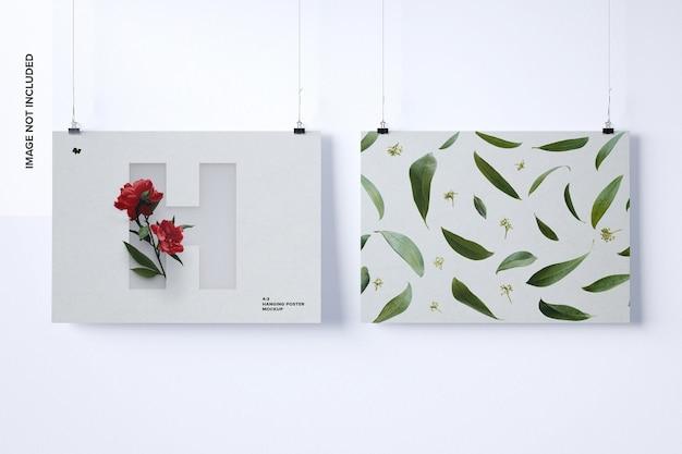 Two landscape hanging posters mockup