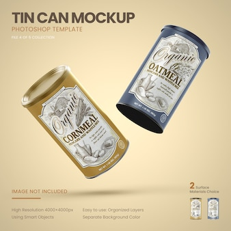 Two large tin cans flying mockup