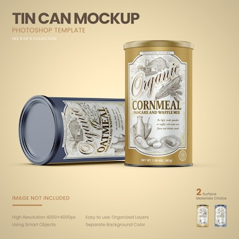 Two large tin cans standing mockup
