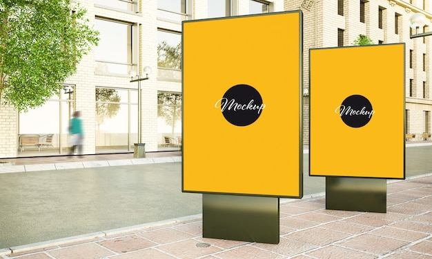 Two lightbox on the street 3d rendering mockup