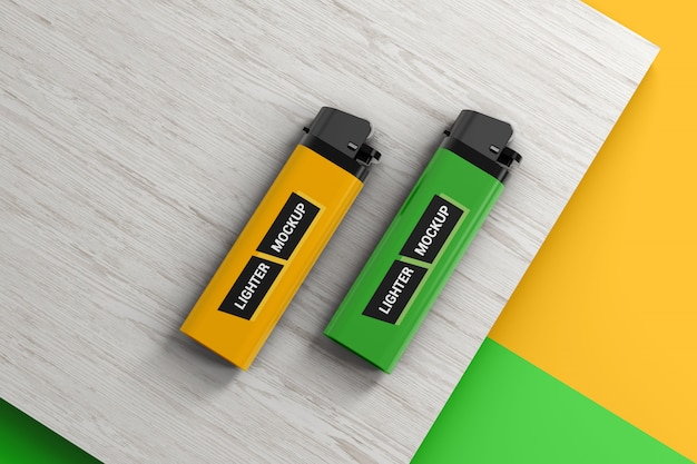 Two lighters on wooden surface mockup
