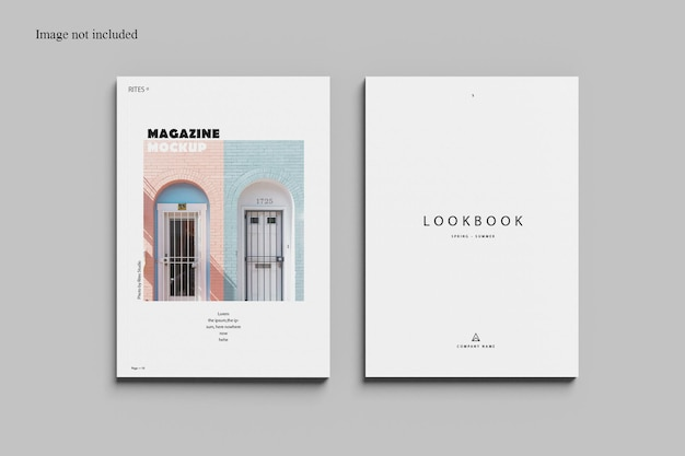 Two magazine mockup design isolated top view