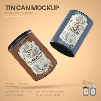 Two medium tin cans flying mockup