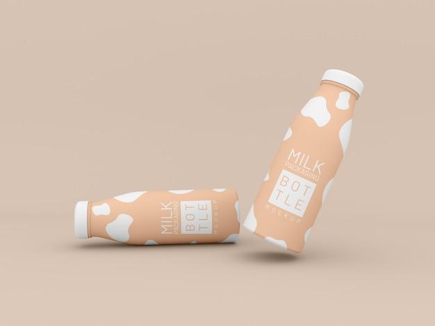 Макет упаковки двух молочных бутылок
