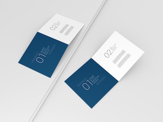 Mockup di brochure a due pieghe quadrate minimal