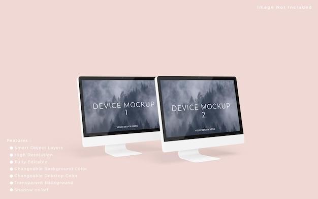 2つのミニマリストpcデスクトップ画面モックアップ