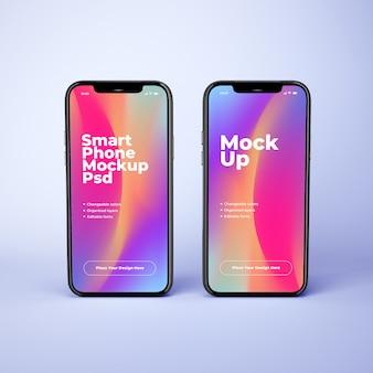 Два макета мобильного телефона со сменными цветами фона