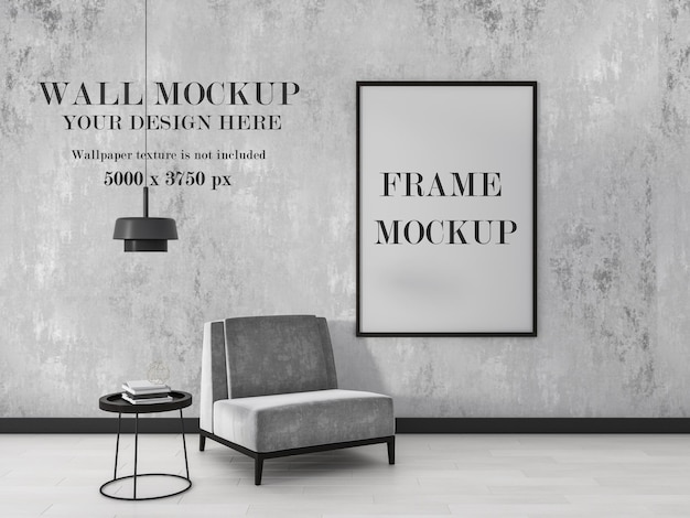 Two mockup in interior with combination of gray and black colors