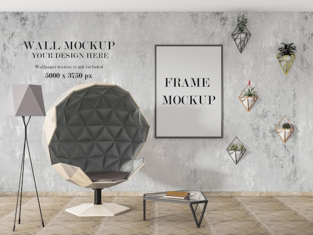 Two mockup in interior with furniture in modern style