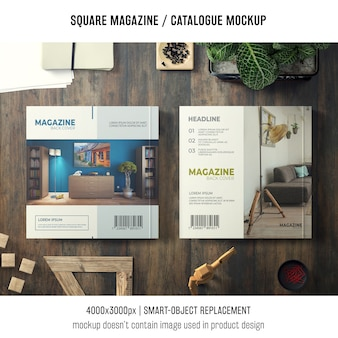 Two modern square magazine or catalogue mockups