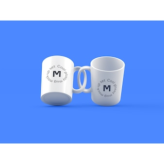 Two mugs on blue background mock up