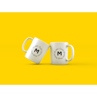 Two mugs on yellow background mock up
