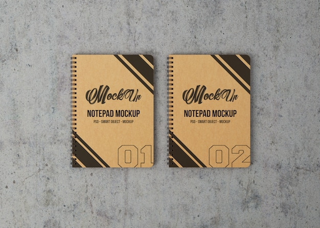 Two notebooks top view mockup
