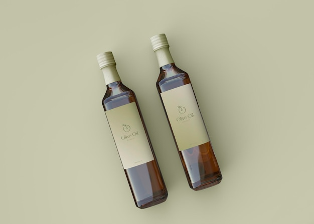 Due bottiglie di olio d'oliva mockup