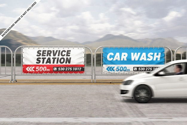 Two outdoor barrier banners mockup