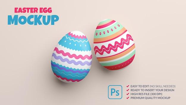 Two painted easter eggs mockup in 3d rendering