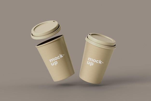 Дизайн макета двух бумажных чашек кофе