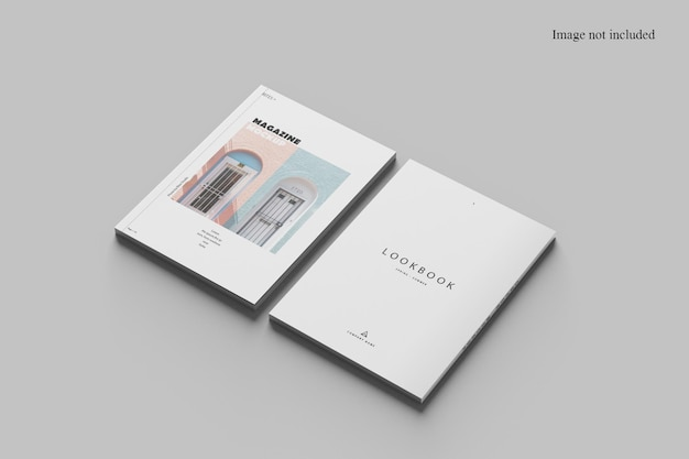 Two perspective magazine mockup design isolated