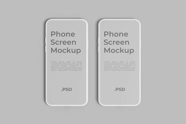 2つの電話スクリーンのモックアップ
