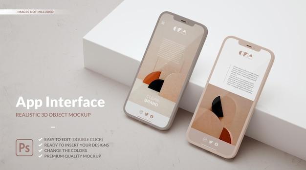 2 つの電話のモックアップと ui ux アプリのコンセプト デザイン用のコピー スペース。
