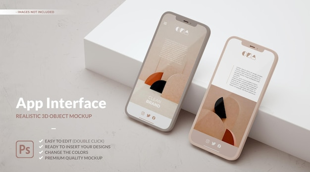 Two phones mockup and copy space for ui ux app concept design.
