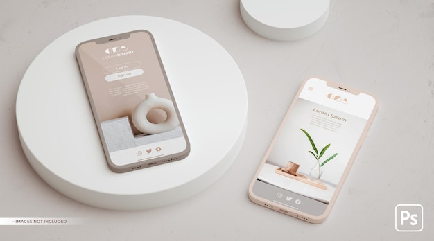 Ui ux アプリのプレゼンテーションのための 2 台の電話のモックアップ