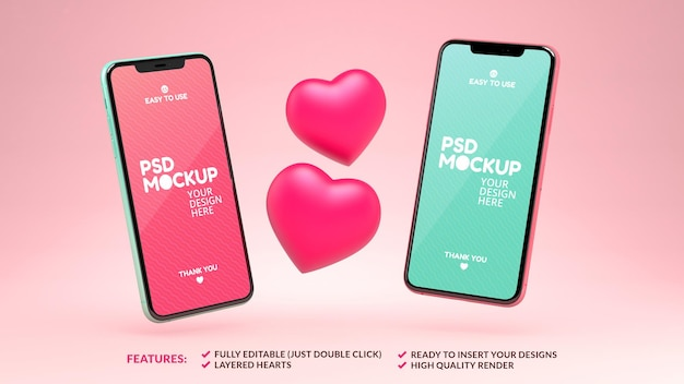 Two phones mockup with hearts for dating app design or valentines day