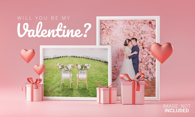 Two photo frame mockup template love heart valentine wedding invitation card