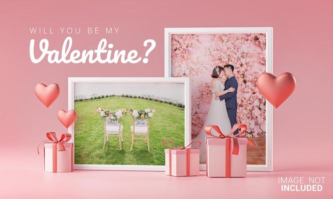 Due photo frame mockup template love heart valentine wedding invitation card