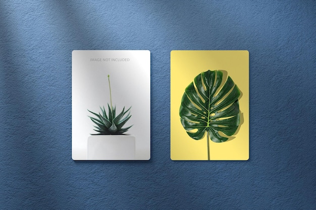 Two photo frame mockup on wall