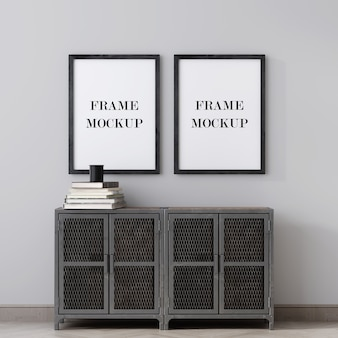 Two picture frames above metal cabinet  3d rendering mockup