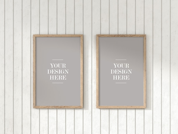 Two piece rustic frame set mockup on white wooden wall